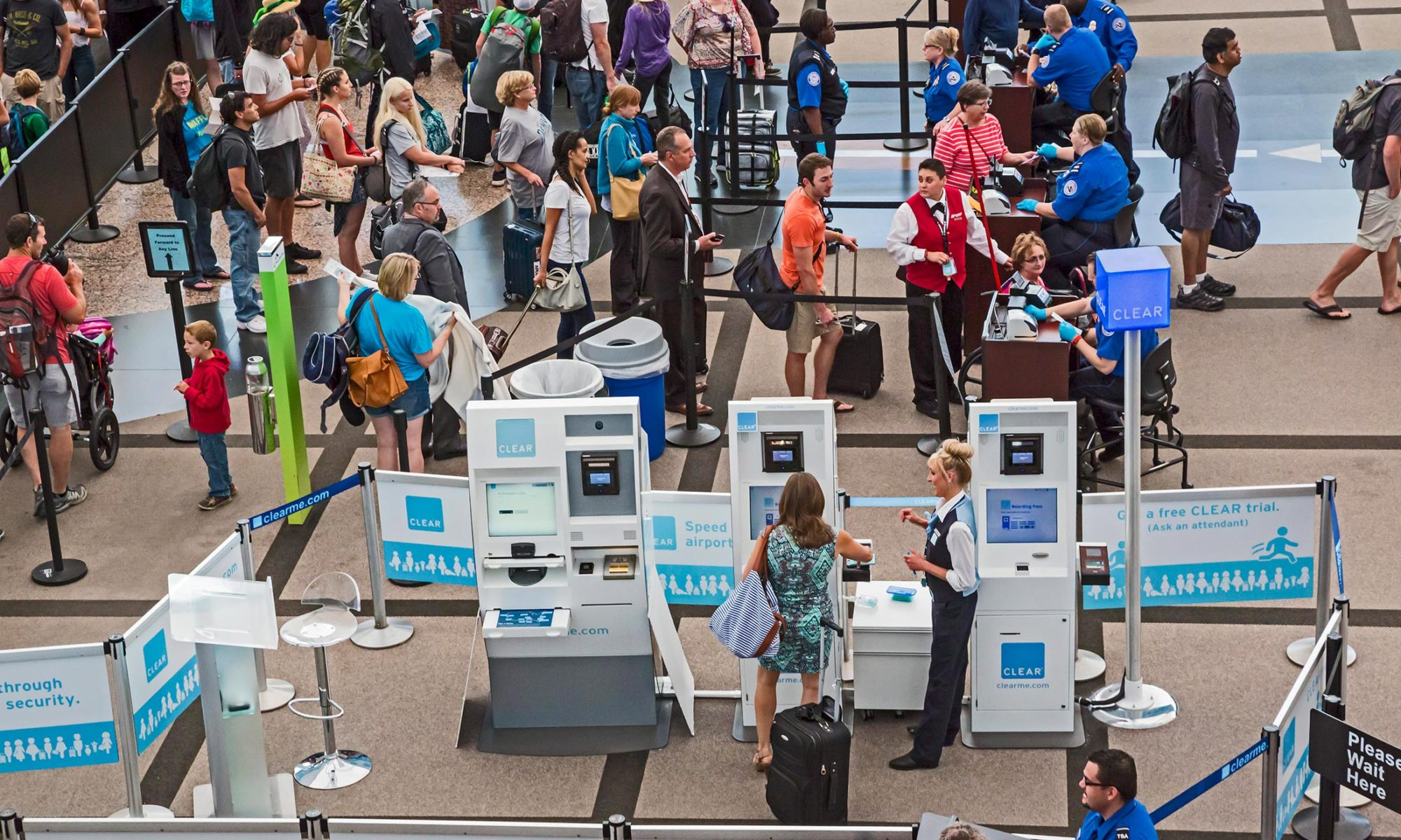 Denver, Colorado, Security screening of passengers Denver International Airport, security screening area Jeppesen Terminal *** Local Caption *** air transport air travel airport arriving,arrival aviation bag,bags busy check,checking CLEAR CLEARme Colorado concourse crowd,crowded Denver Denver International Airport EBF,Economy homeland security luggage,bag,bags machine,machinery,machines man,men passenger passenger,passengers passengers private privilege queue,queuing screening SCT,Technology search,searching security Security Guard,security guards security screening system Transportation Security Administration travel traveler travelers TSA USA wait,waiting woman,women worker,workers x-rays,xrays,x ray,xray,x rays